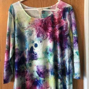 🌟 Chico's Top 3 (XL)  Gorgeous Bright Colors EUC